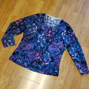Garnet Hill 100% merino wool floral cardigan